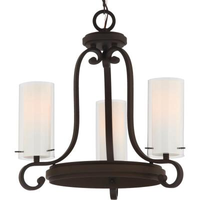 Regina 3-Light Antique Bronze Indoor Mini Hanging Chandelier, Outer Clear Glass and Inner White Glass Cylinder Shades