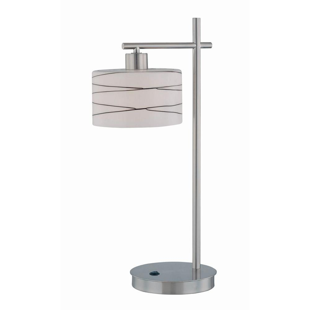 Illumine 24.25 in. Polished Steel Table Lamp with Frost Glass and Black Lines