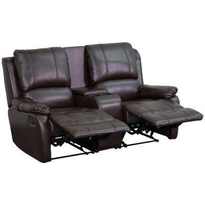 allure series 2seat reclining pillow back brown leather theater seating unit with cup holders