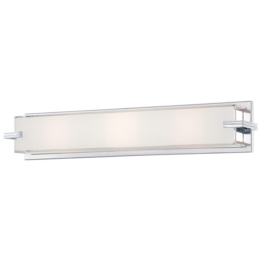 Cubism 3-Light Chrome Bath Light with Mitered White Glass Shade