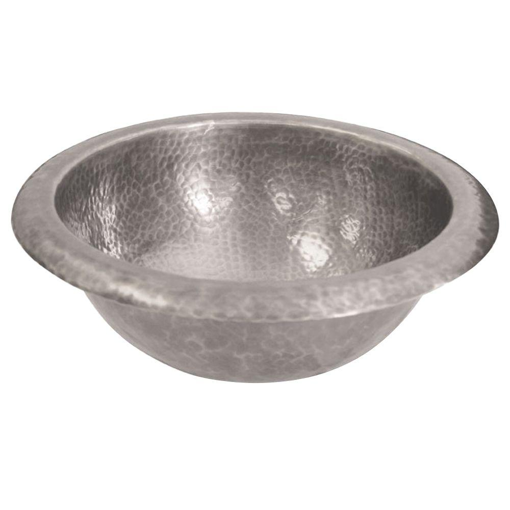 Barclay 6712-PE Hammered Pewter Round Shape Undermount Small Bathroom Sink