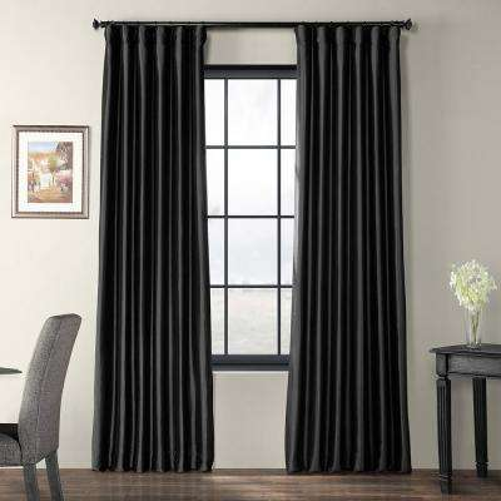 Jet Black Faux Silk Taffeta Light Filtering Curtain - 50 in. W x 108 in. L