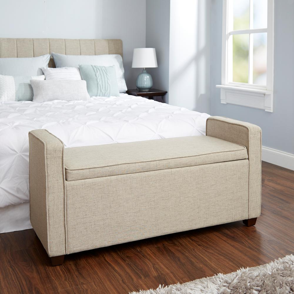 Silverwood Madeline Beige Upholstered Storage Bench