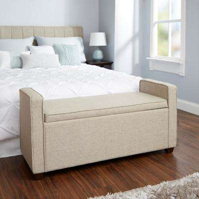 Madeline Beige Upholstered Storage Bench
