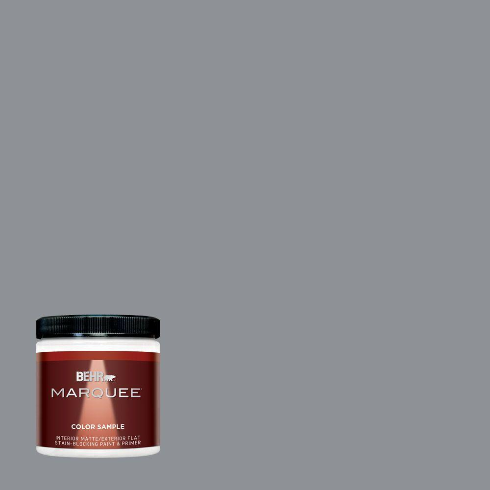 Behr Marquee 8 Oz Ppu18 04 Dark Pewter One Coat Hide Matte Interior Exterior Paint And Primer In Sample