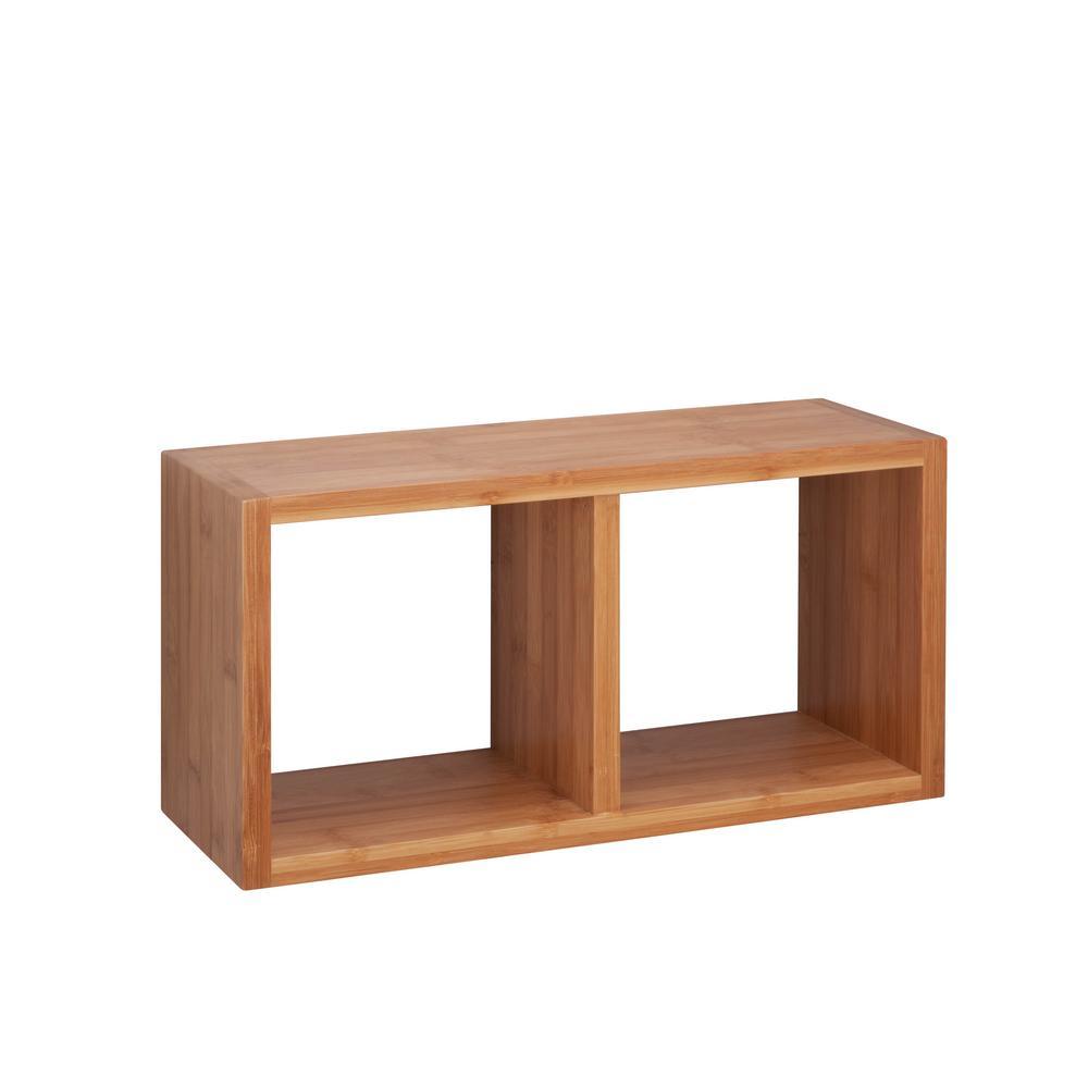 7.88 in. x 5.9 in. Double Cube Bamboo Wall Shelf Decorative Shelf