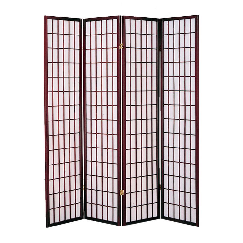 Shoji Screen 6 ft. Cherry 4-Panel Room Divider