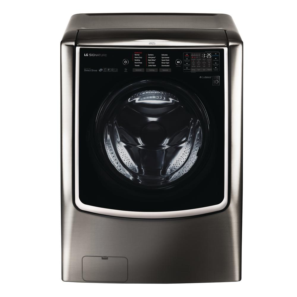 LG SIGNATURE 5.8 cu. ft. HE Mega Capacity Smart Front Load Washer with TurboWash & Steam in Black Stainless Steel, ENERGY STAR