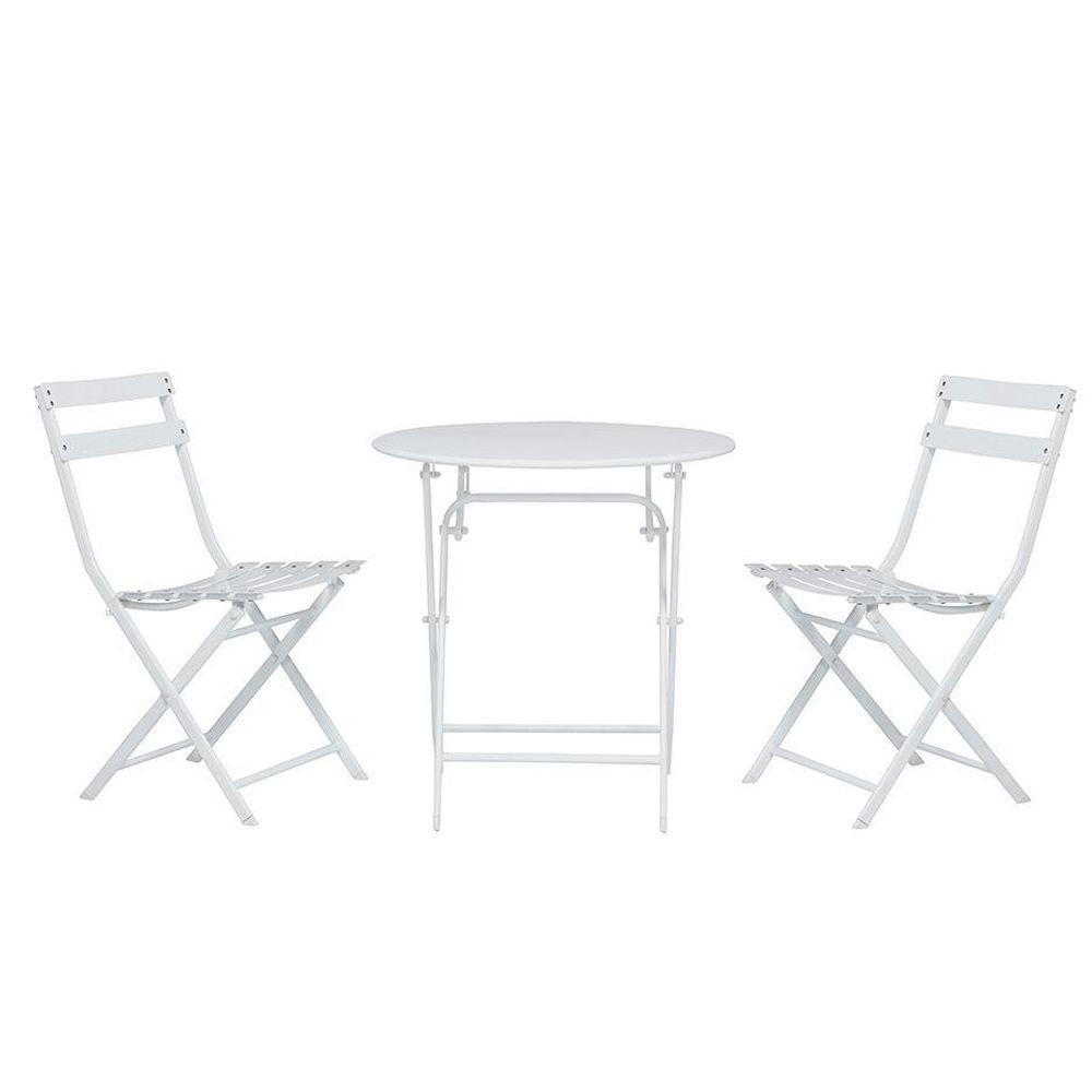 Home Decorators Collection Follie White Outdoor Patio Bistro Set (3-Piece)