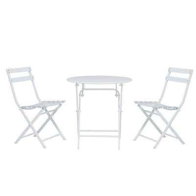 Follie White Outdoor Patio Bistro Set (3-Piece)