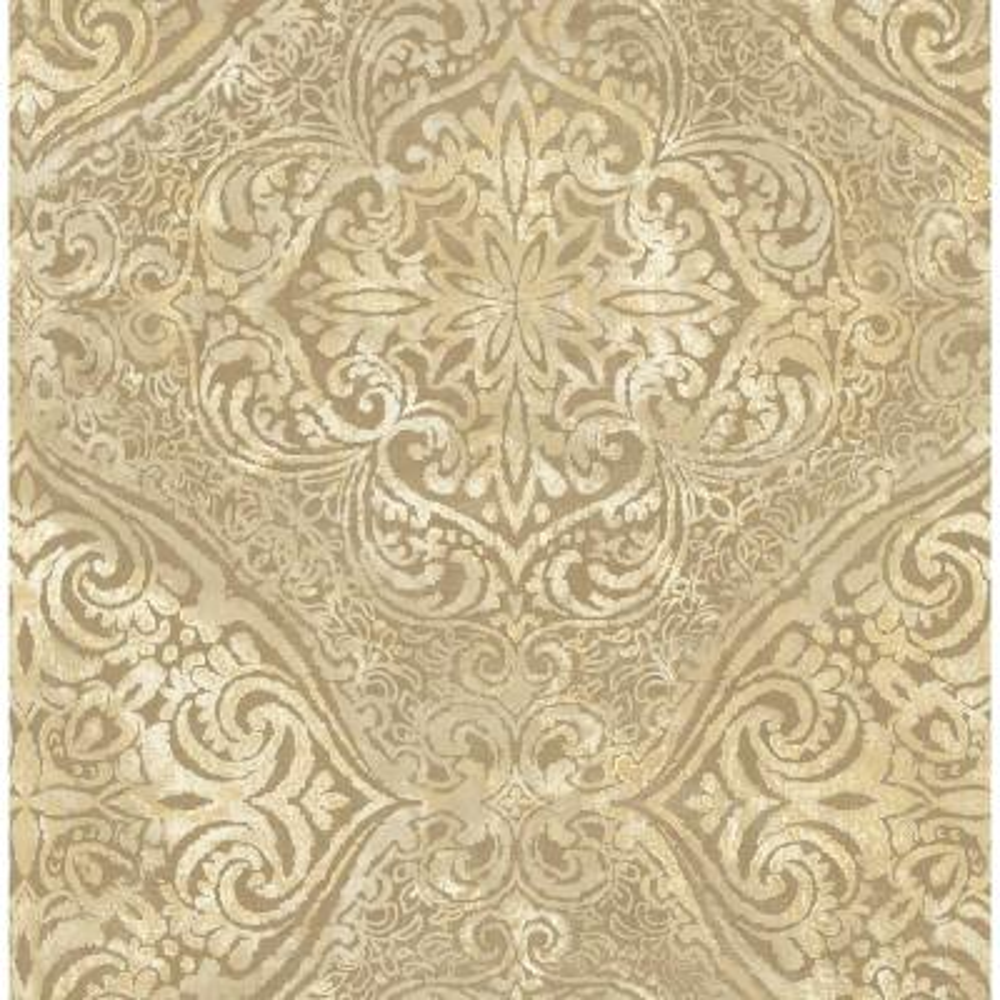 Palladium Metallic Gold and Cream Damask Wallpaper