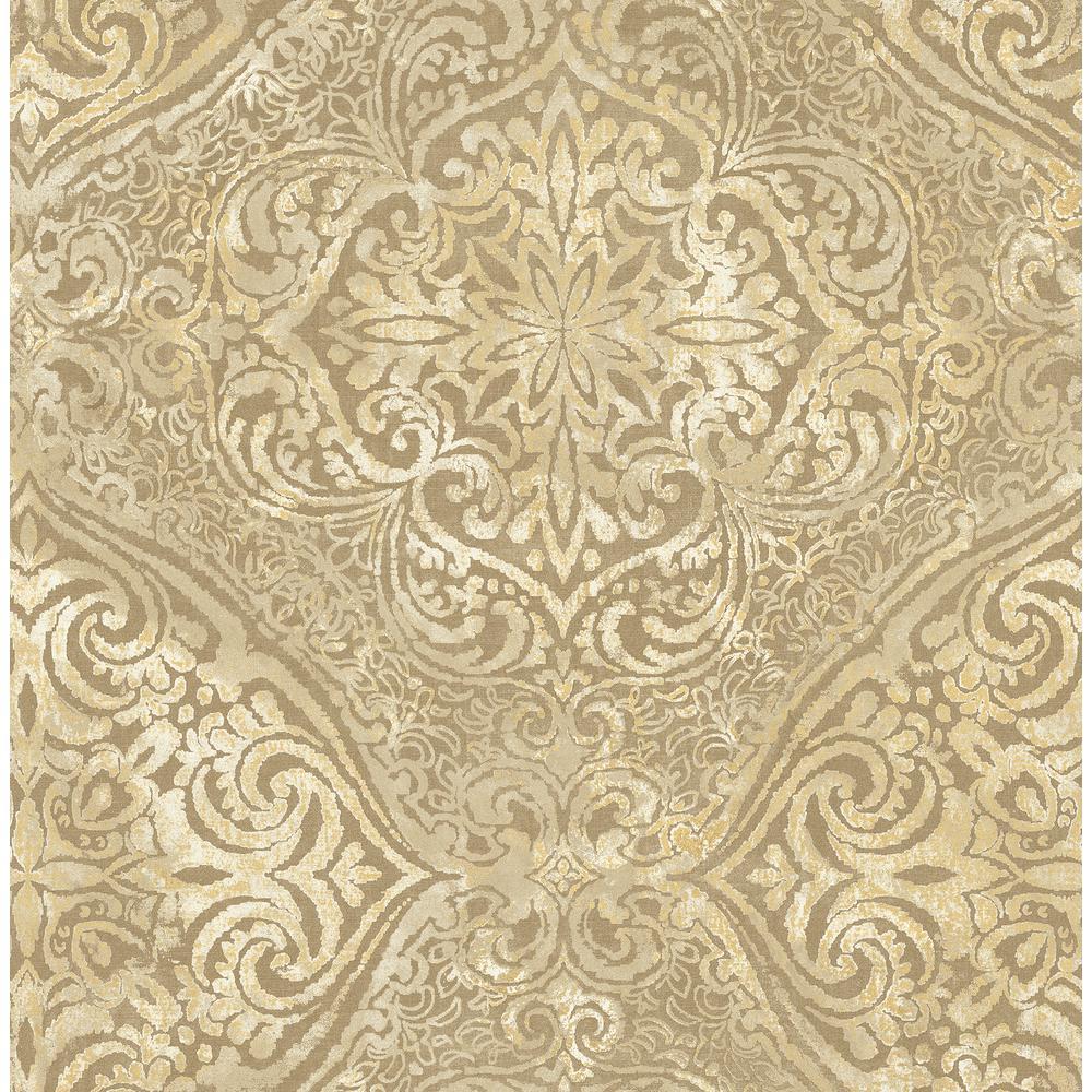 Seabrook Designs Palladium Metallic Gold And Cream Damask