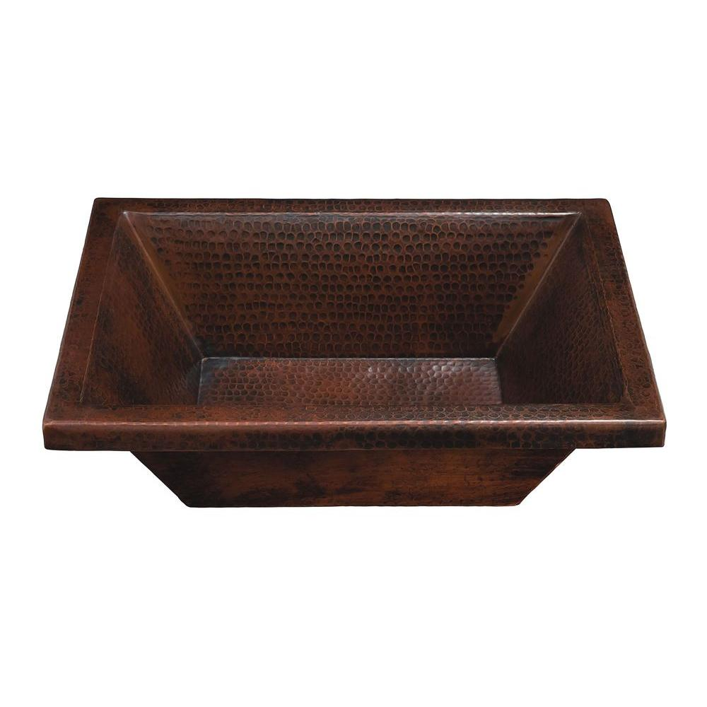 SINKOLOGY Fleming 18 in. Dualmount Handmade Pure Solid Copper Bath Sink in Aged Copper
