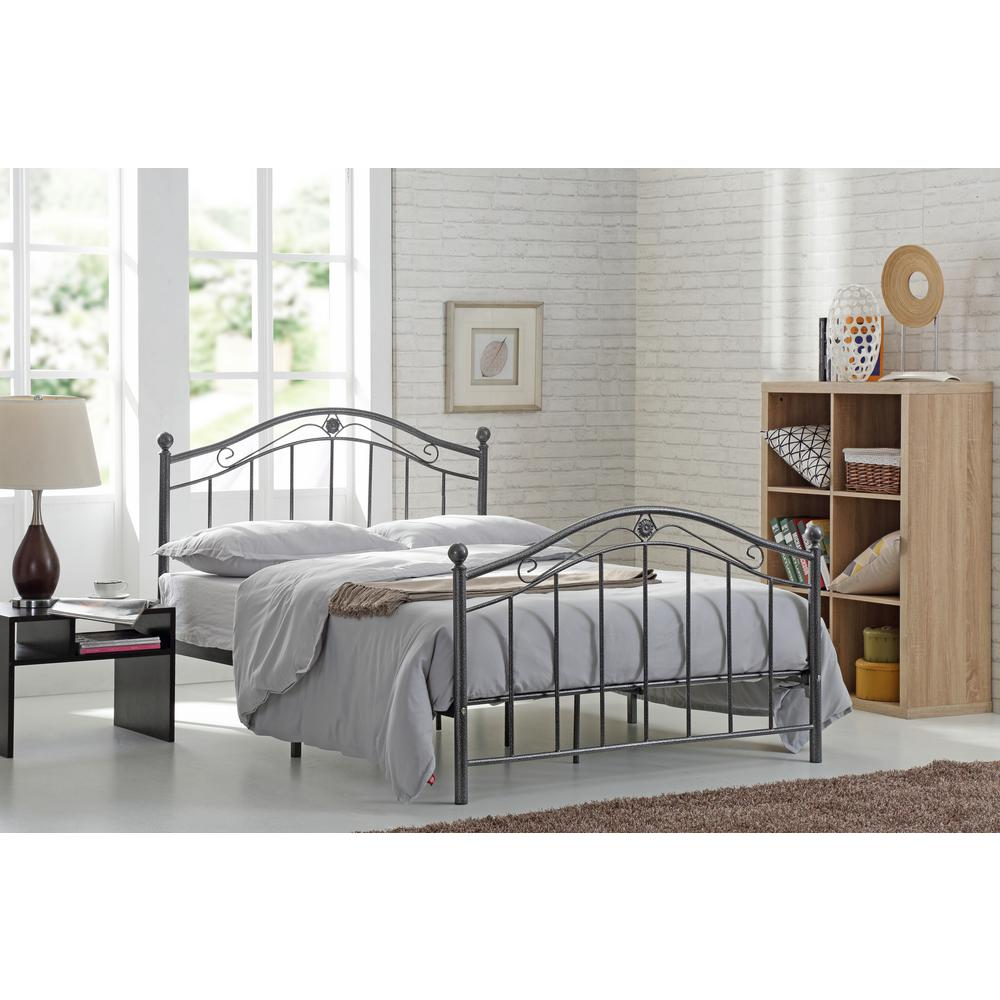 Hodedah Black and Silver Queen Size Metal Panel Bed with Headboard and  Footboard
