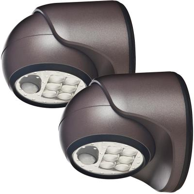 6-Light Bronze Motion Activated Outdoor Integrated LED Wireless Area Light (2-pack)