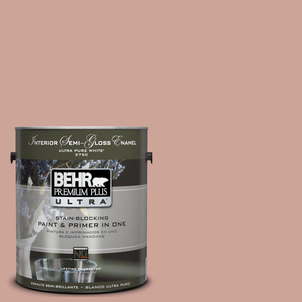 BEHR Premium Plus Ultra 1-gal. #UL120-16 Pink Ginger Interior Semi-Gloss Enamel Paint