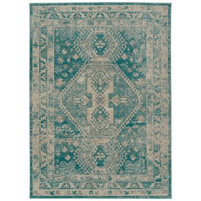 Kaleen Zuma Beach Collection Turquoise 5 ft. 3 in. x 7 ft. 3 in. Rectangle Indoor/Outdoor Area Rug, Detailed Colors:...