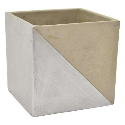 7 in. Flower Pot Gray and Silver