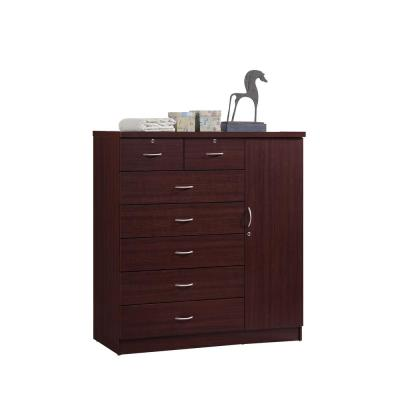 7-Drawer Mahogany Chest of Drawers with Door
