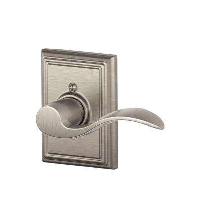 Accent Satin Nickel Right Handed Dummy Door Lever with Addison Trim