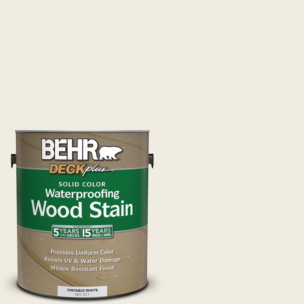 BEHR DECKplus 1 gal. #12 Swiss Coffee Solid Color Waterproofing Wood ...