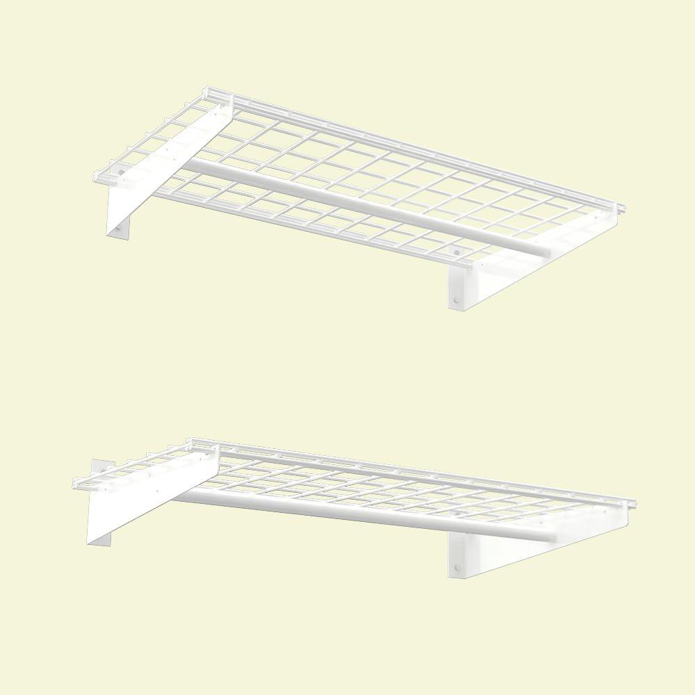 hyloft 2 shelf 36 in w wire garage wall storage system in white - Garage Wall Shelving