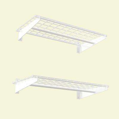 2-Shelf 36 in. W Wire Garage Wall Storage System in White