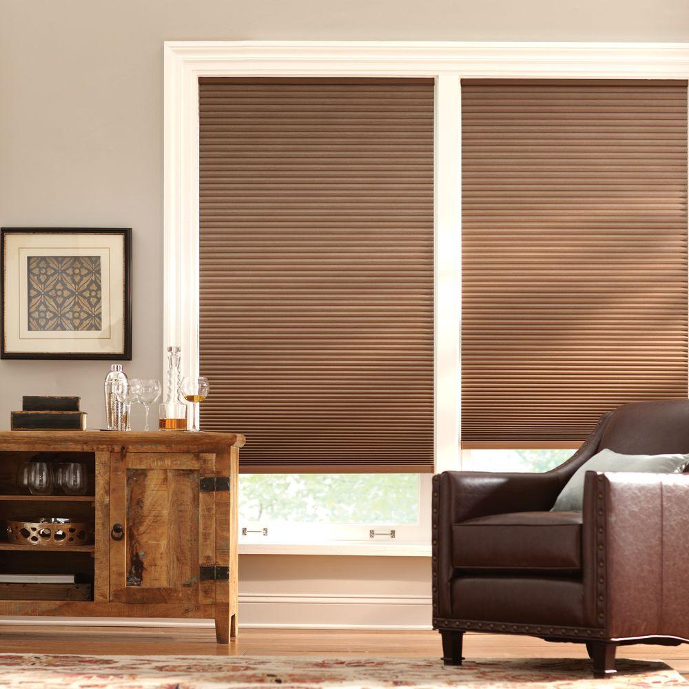 Home Decorators Collection Mocha 9 16 In Cordless Blackout Cellular Shade 51 5 In W X 64 In L Actual Size 51 125 In W X 64 In L 10793478929856 The Home Depot