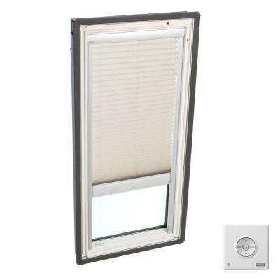 21 in. x 37-7/8 in. Fixed Deck-Mount Skylight, Laminated Low-E3 Glass, Classic Sand Solar Powered Light Filtering Blind