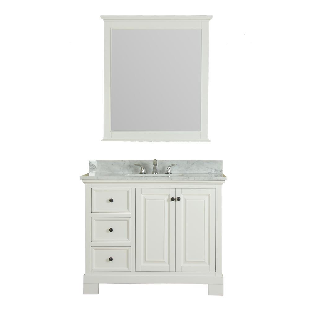 Alya Bath Richmond 42 in. W x 22 in. D Vanity in White with Marble Vanity Top in White with White Basin and Mirror