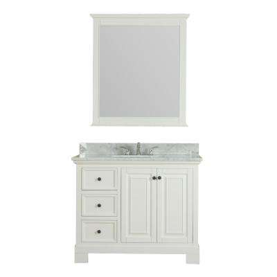 Richmond 42 in. W x 22 in. D Vanity in White with Marble Vanity Top in White with White Basin and Mirror