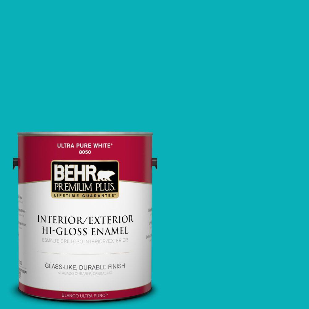 BEHR Premium Plus 1-gal. #500B-5 Mermaid Treasure Hi-Gloss Enamel Interior/Exterior Paint