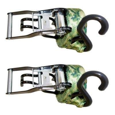 3,900 lbs. 1.5 in. x 15 ft. Motorcycle Ratchet Tie-Down Camouflage Strap (2-Pack)