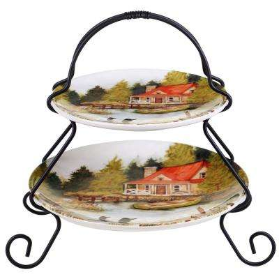 The Lake Life Collection 2-Tier Blue Hand-Painted Ceramic Server