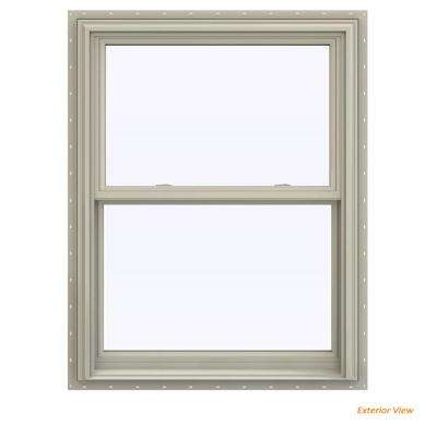 31.5 in. x 40.5 in. V-2500 Series Desert Sand Vinyl Double Hung Window with BetterVue Mesh Screen