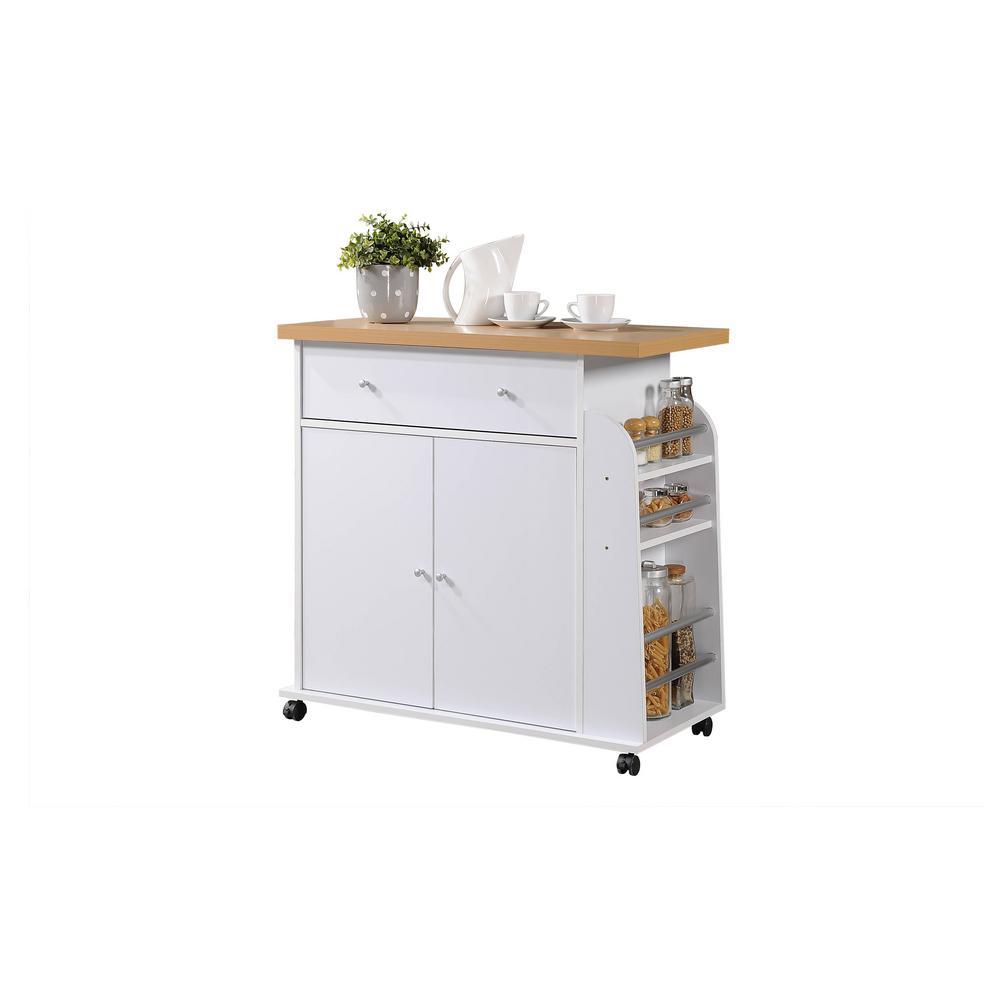 Kitchen Island White with Spice Rack