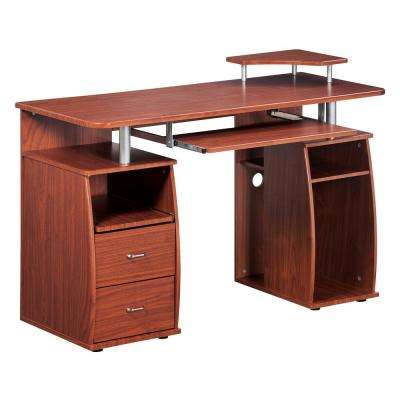 Mahogany Complete Computer Workstation Desk with Storage