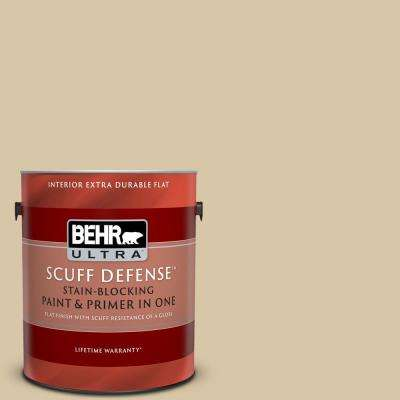 1 gal. #MQ2-23 Almond Butter Extra Durable Flat Interior Paint and Primer in One