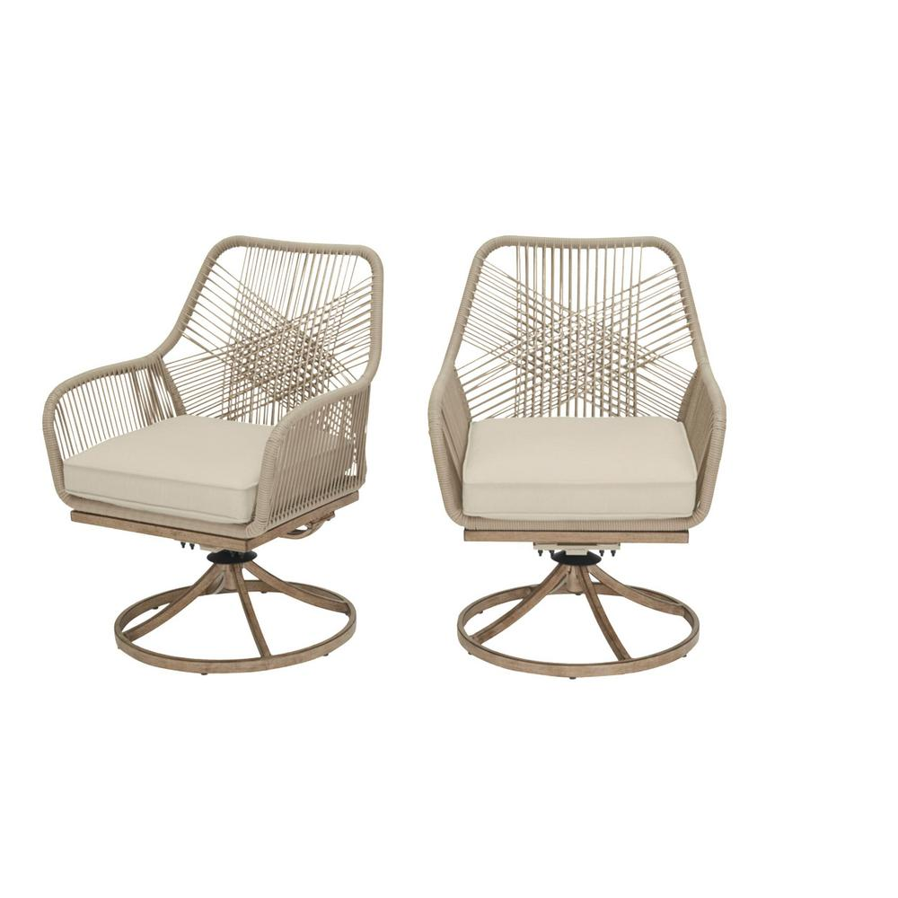 Haymont Swivel Steel Wicker Outdoor Patio Dining Chair with Beige Cushion (2-Pack)