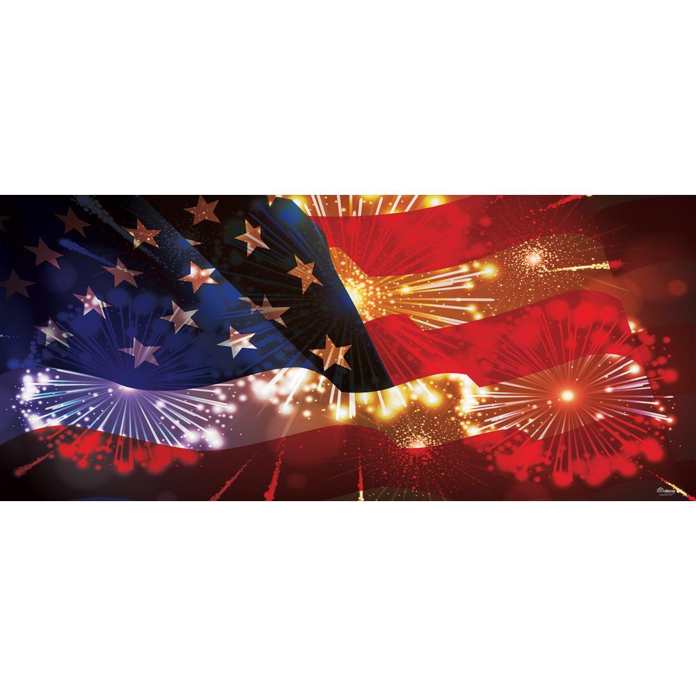 My Door Decor 7 Ft X 16 Ft American Flag And Fireworks Patriotic Garage Door Decor Mural For Double Car Garage 285905patr 006 The Home Depot