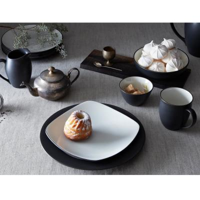 Colorwave Square 4-Piece Casual Graphite Stoneware Dinnerware Set (Service for 1)