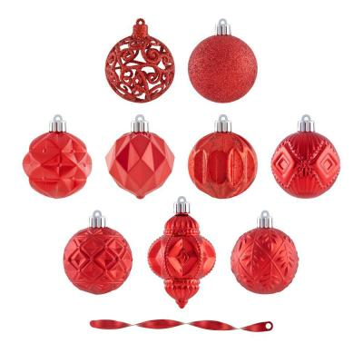 Holiday Traditions 60 mm Red Shatterproof Ornament Set (101-Count)