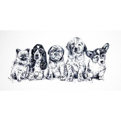 """30 in. x 60 in. """"Puppy Love"""" by Milo Printed and Painted Canvas Wall Art"""