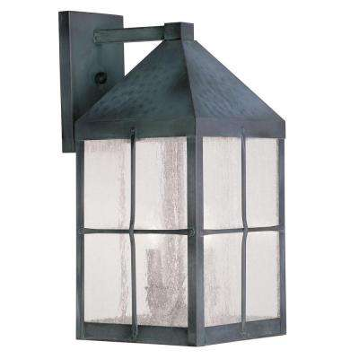 Providence Wall-Mount 3-Light Hammered Charcoal Outdoor Incandescent Lantern