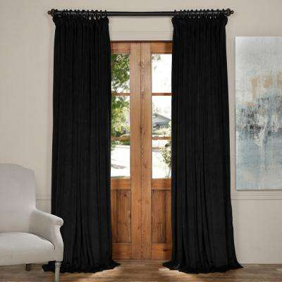 Blackout 100 in. W x 96 in. L Signature Black Doublewide Blackout Velvet Curtain (1 Panel)