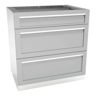 Stainless Steel 3 Drawer 32x35x22.5 in. Outdoor Kitchen Cabinet Base with Powder Coated Drawers in Gray