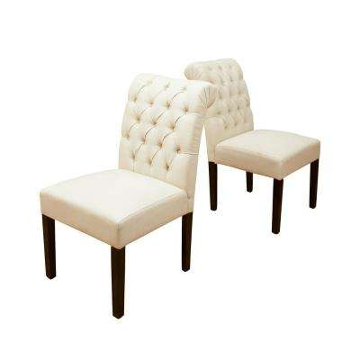 Dinah Ivory Fabric Tufted Dining Chairs (Set of 2)