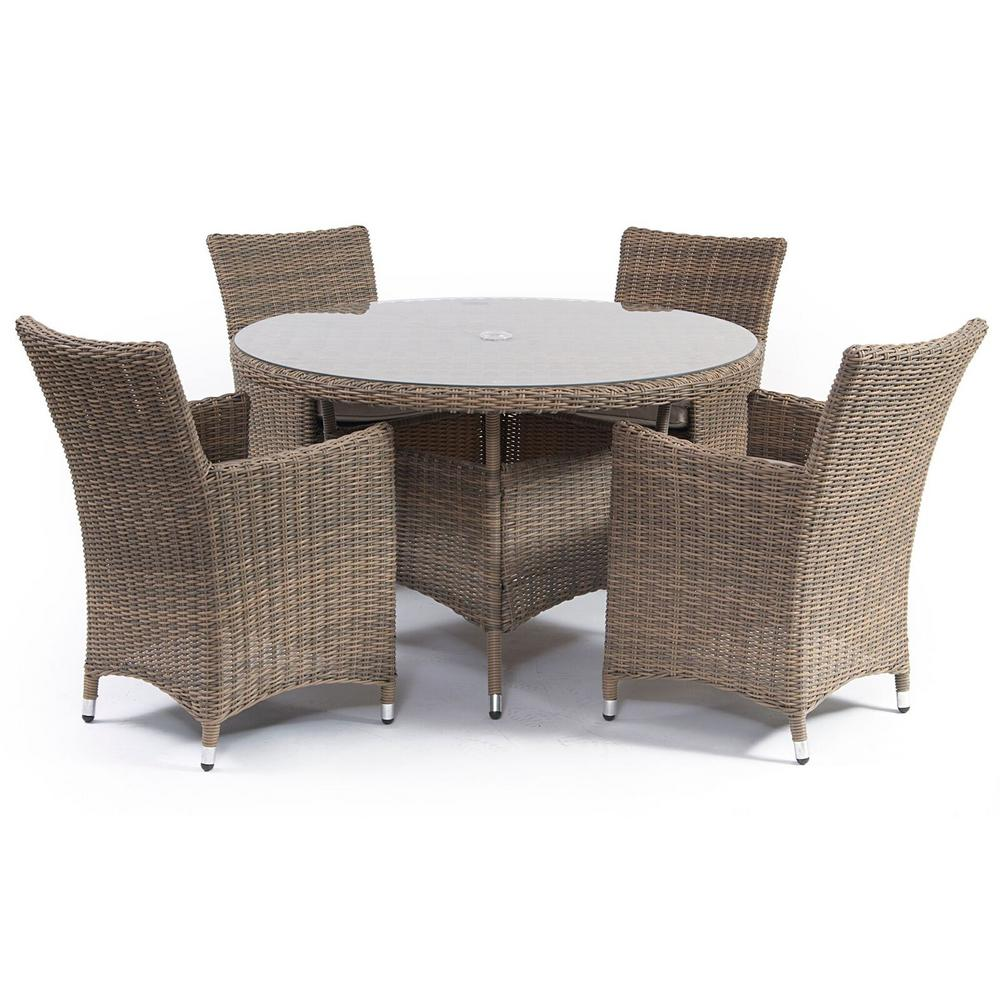 Causeway Round 5 Piece Metal Outdoor Dining Table