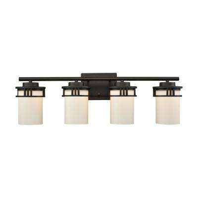Ravendale 4-Light Oil Rubbed Bronze With Opal White Glass Bath Light