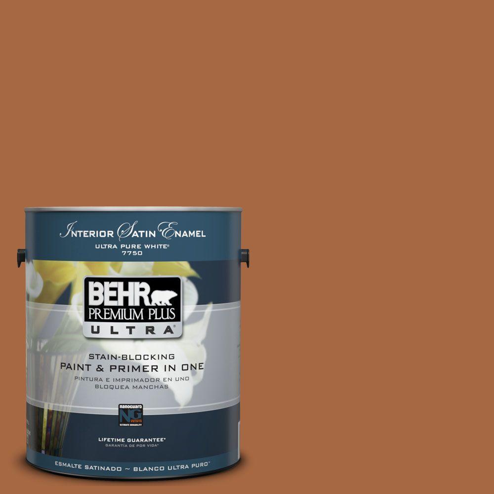 BEHR Premium Plus Ultra 1-Gal. #UL120-5 Maple Glaze Interior Satin Enamel Paint